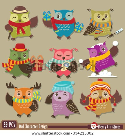 Vintage Christmas owl poster design - stock vector