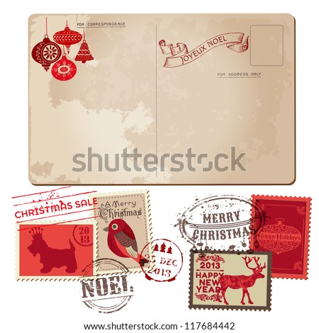 Vintage Christmas Postcard and Stamps - for design, invitation, congratulation, scrapbook - in vector - stock vector