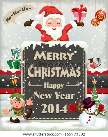 Vintage Christmas poster design with Santa Claus - stock vector