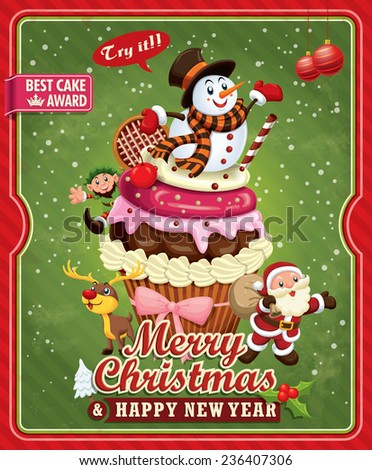 Vintage Christmas poster design with Santa Claus, cupcake, Snowman, elf & deer - stock vector