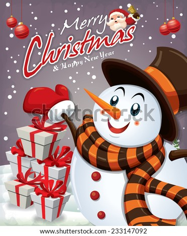 Vintage Christmas poster design with Santa Claus & snowman - stock vector