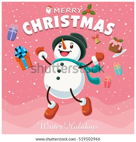 Vintage Christmas poster design with snowman characters.