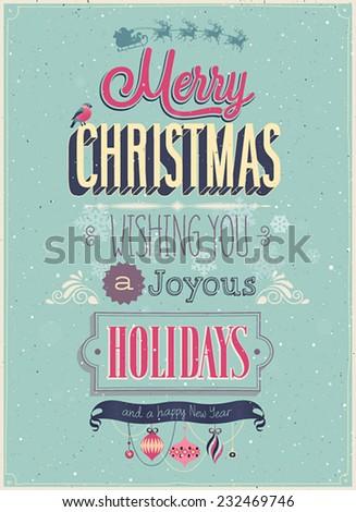Vintage Christmas Poster. Vector illustration. - stock vector