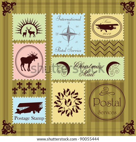 Vintage Christmas stamps illustration collection background - stock vector