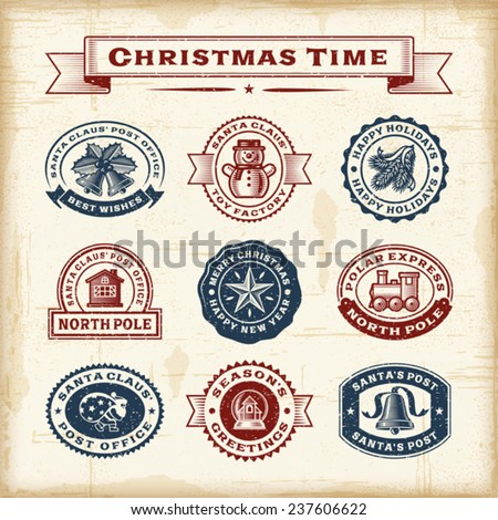 Vintage Christmas stamps set. Fully editable EPS10 vector. - stock vector