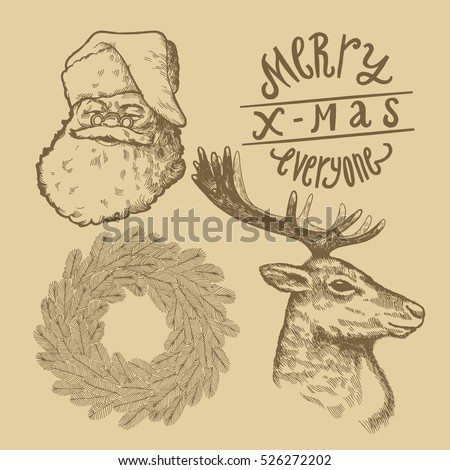 Vintage Christmas Symbols Drawing Set Santa Stock Vector 526272202