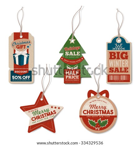 Vintage Christmas tags set with string, textured realistic paper, retail, sale and discount concept - stock vector