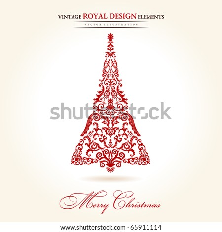 vintage christmas tree red vector illustration - stock vector