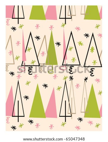 Vintage Christmas Tree Vector - stock vector