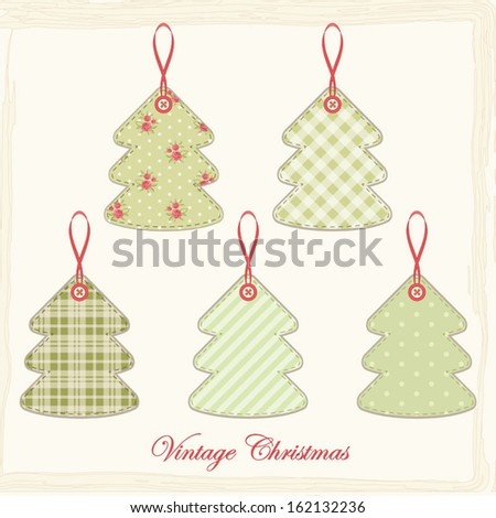 Vintage Christmas trees in shabby chic style as decorative elements for scrap booking or Christmas greeting card - stock vector