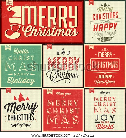 Vintage Christmas Typographic Background Set / Merry Christmas And Happy New Year - stock vector