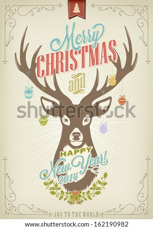 Vintage Christmas Typography Background With Deer