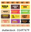 Vintage cinema tickets. BIG COLLECTION. On movie or to Theater? Use my tickets! 12 DIFFERENT VARIANTS. - stock vector