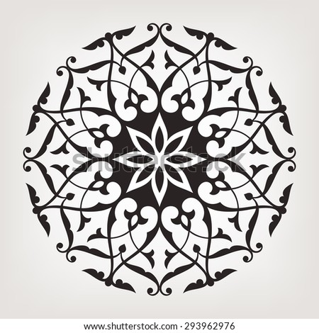 Vintage circular pattern. Mandala. Round abstract floral vector ornament in Arabesque style. - stock vector