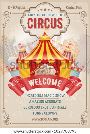 Vintage Circus Advertising Poster Or Flyer With Big Marquee Elegant Title Retro Background