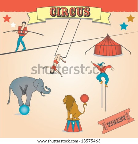VINTAGE CIRCUS FUN CARNIVAL. Editable vector illustration file. - stock vector