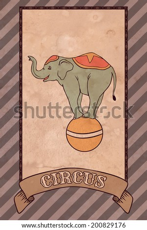 Vintage circus illustration, elephant