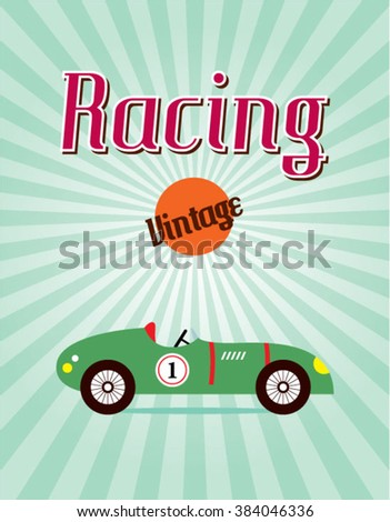 vintage classic old race car vector illustration - stock vector