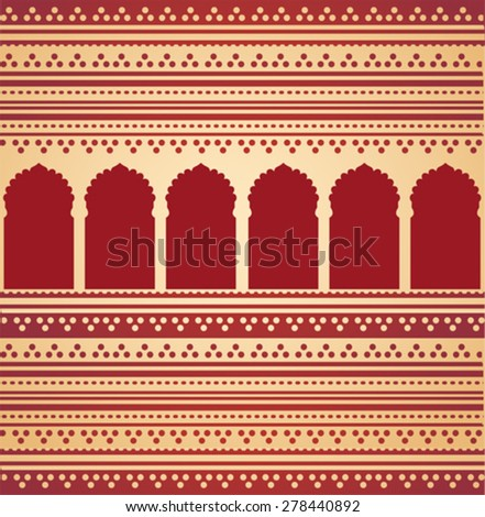 Vintage classical cream and red Asian henna pattern background with red oriental temple gates  - stock vector