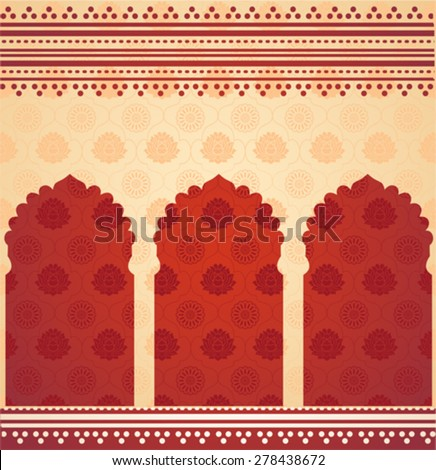 Vintage classical cream Asian lotus and mandala pattern background with red oriental temple gates and henna borders - stock vector