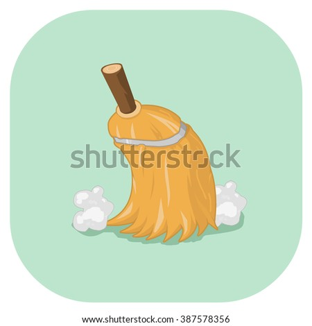 Vintage cleaning and dusting broom. A vector illustration icon of a Retro broomstick cleaning. Flat icon spring cleaning concept. - stock vector