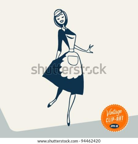 Vintage Clip Art - Happy Maid - Vector EPS10. - stock vector