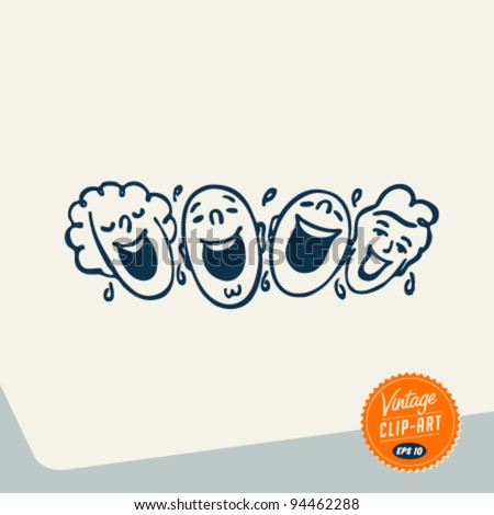 Vintage Clip Art - People laughing out loud - Vector EPS10. - stock vector