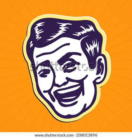 Vintage Clipart: 50s looking handsome and charming portrait of smiling retro man - stock vector