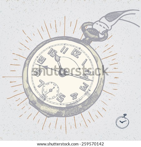 vintage clock hand drawn illustration - stock vector