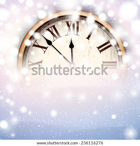 Vintage clock over snowfall christmas background. New year vector illustration.   - stock vector