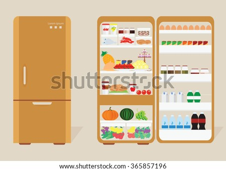 Vintage Closed and Opened Refrigerator Full Of Food and drink, fruit and vegetable, Vector Illustration. - stock vector