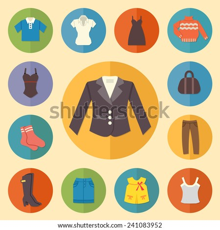 Vintage clothes Icons. Flat style. Vector illustration - stock vector