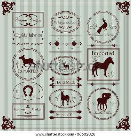 Vintage clothing labels and elements illustration collection - stock vector