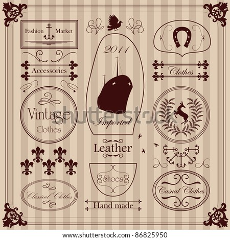 Vintage clothing labels and elements illustration collection