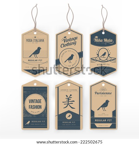 vintage clothing tag stock vector 222502675 shutterstock. Black Bedroom Furniture Sets. Home Design Ideas