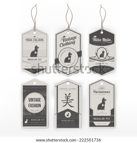 Vintage clothing tags - stock vector