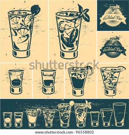 Vintage cocktails collection. Cocktail glass. Cocktail bar title emblem - stock vector