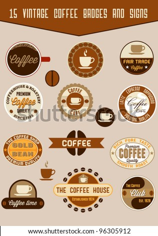Vintage coffee badges and signs - stock vector