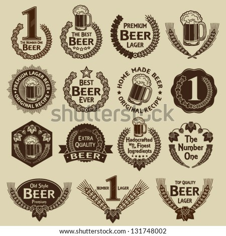 Vintage Collection of Beer Seals & Marks - stock vector