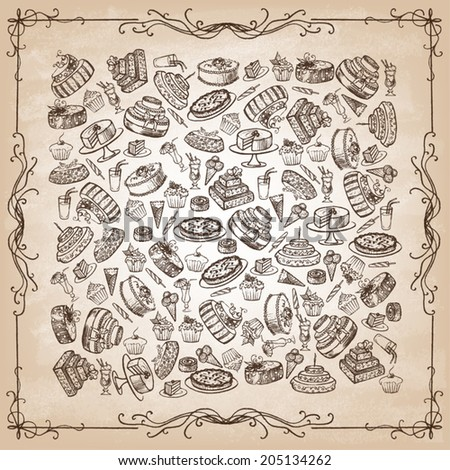 Vintage collection of desserts. Sketches of desserts hand-drawn. Vector illustration. - stock vector