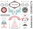 Vintage collection of Vector wedding design elements. Decorative set of holiday objects and signs. - stock photo