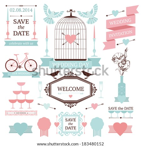 Vintage collection of Vector wedding design elements. Decorative set of holiday objects and signs. - stock vector