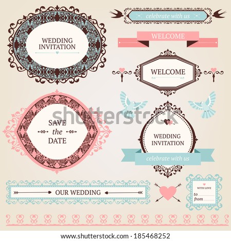 Vintage collection of Vector wedding design elements. Decorative set of ornamental objects and signs.