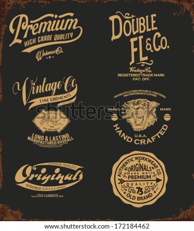 vintage college type collection - stock vector