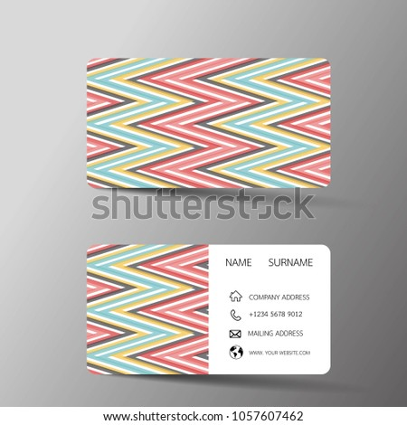 Vintage Color Business Card Template Design Two Sided On The Gray Background Vector Illustration