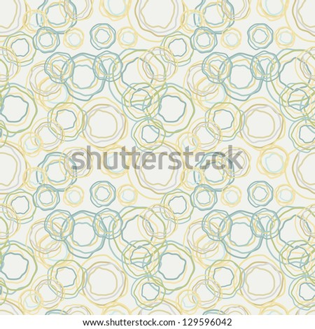 Vintage color curved circles pattern - the retro seamless background - stock vector