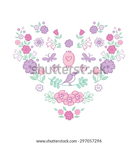 Vintage color heart of flowers. The set of hand drawn decorative floral elements for Valentine's Day, mother's day, birthday, wedding. Doodles, sketch. Vector illustration. - stock vector