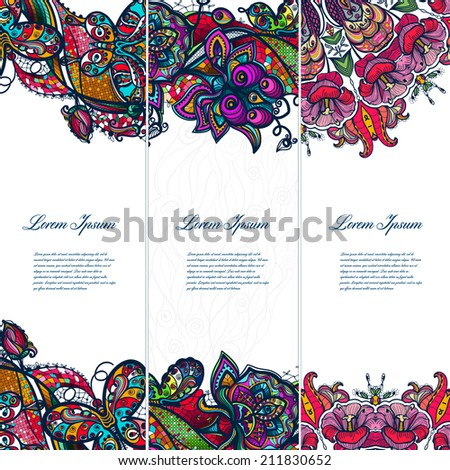 Vintage color lace floral set of banners for your designs.Bright colors for decoration and scenery, presentations and gifts for your business. - stock vector