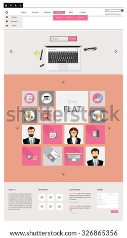 Vintage Color One page website template, metro style. - stock vector