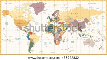 Vintage color political World Map.All elements are separated in editable layers clearly labeled. - stock vector
